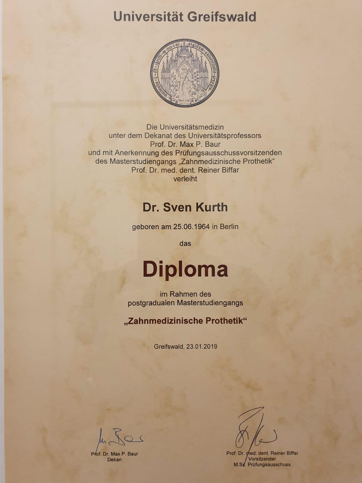 Diploma in Prothetik für Dr. Sven Kurth.