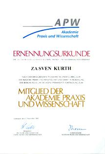 Ernennungsurkunde für Zahnarzt Dr. Sven Kurth, Berlin-Spandau.