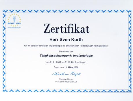 Zertifikat Implantologie Dr. Sven Kurth.