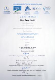 Zertifikat Dr. Sven Kurth, Tätigkeitsschwerpunkt Implantologie.