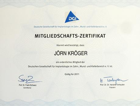 DGI Mitgliedschaftszertifikat von Dr. Jörn Kröger, Zahnarzt Berlin-Spandau.