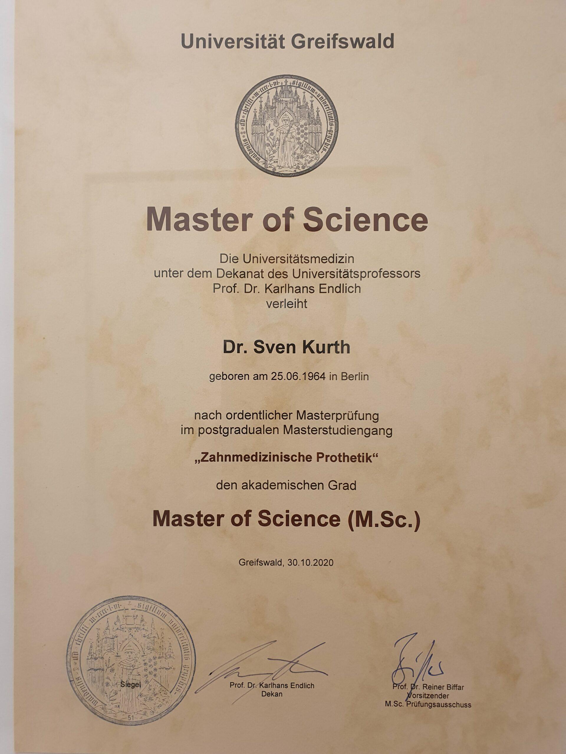 Dr. Sven Kurth, Zahnarzt aus Berlin-Spandau, hat den Master of Science in Zahnmedizinische Prothetik erworben – für hochwertigen Zahnersatz aus Berlin-Spandau.